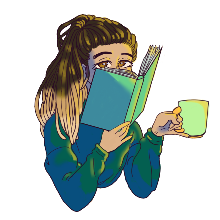 hand drawn profile photo of myself (tasia) peaking over a book in right hand with a tea cup in left hand